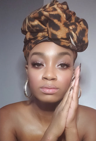 Abiah Cheetah Print Stretched Fabric Headwrap
