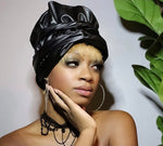 Black faux Leather with Print   Slip On satin lined headwrap