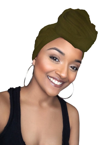 Olive Jersey Knit Stretched Fabric Headwrap