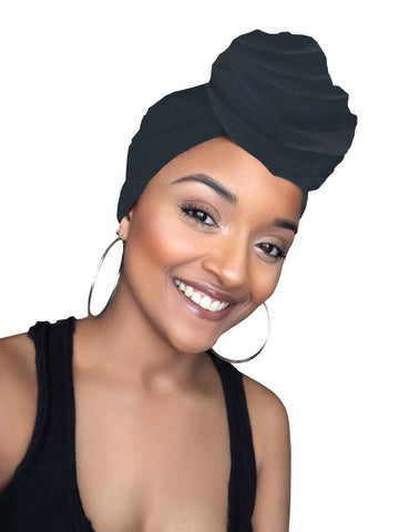 Charcoal Dark Grey Satin Lined Head wrap