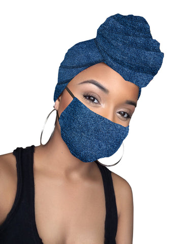 Blue Jeans stretched Head wrap & mask