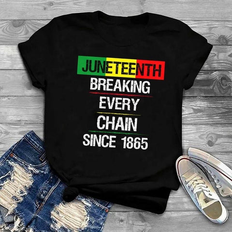 Juneteenth Breaking Every Chain Black T-shirt
