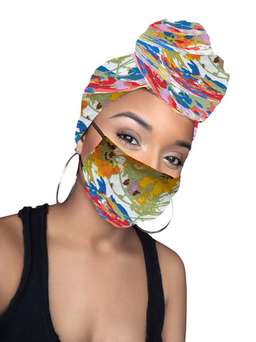 Flowers Stretched Fabric Head wrap & mask