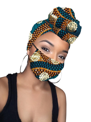 Kai Gye Nyame Cotton Gold Print African Head wrap and Mask