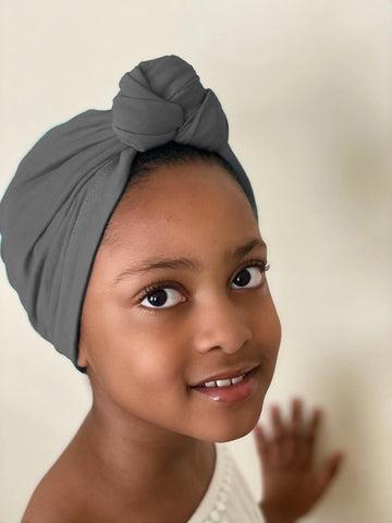 Dark Gray Kids Pre Tied Headwrap