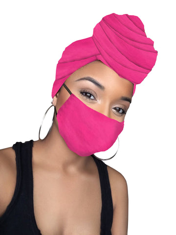 Pink Daiquiri Satin Lined Wrap & mask