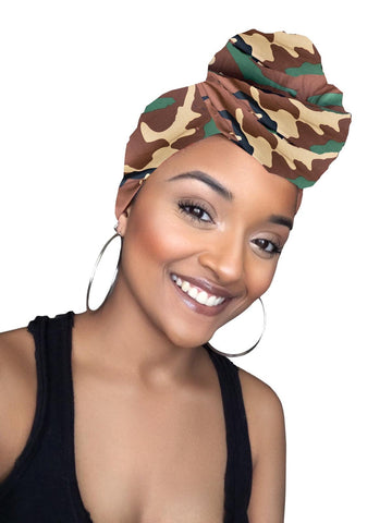 Joy Army Print Stretched Satin Lined Head wrap