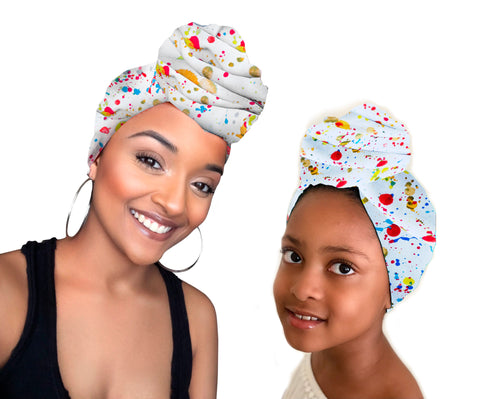Splatter Stretched mother & daughter Satin Lined Head wrap