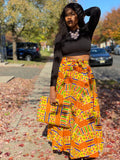 Madras Print Maxi Skirt, Headwrap & Bag Set