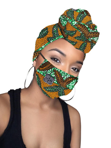 Claire Satin Lined Headwrap and Mask