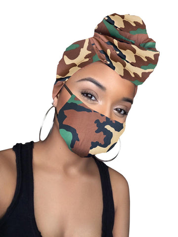Joy Army Print Stretched Head wrap and Mask