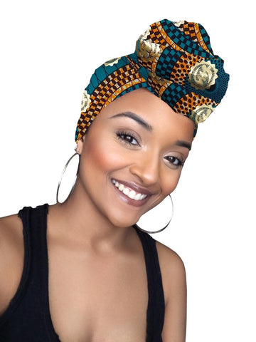 Kai Gye Nyame Cotton Gold Print African Head wrap