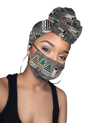 Your Greyness Satin Lined headwrap & mask