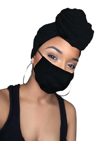 Midnight Black Stretched Fabric Head wrap & mask