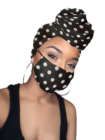 Black polka  dot Stretched Fabric Head wrap & mask