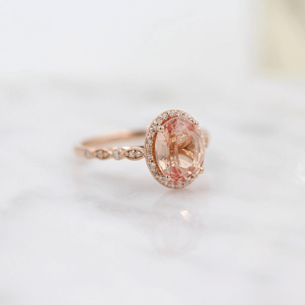 The Charlotte Ring with Peachy-Pink Created Sapphire