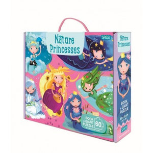 Sassi Book and Giant Puzzle - Nature Princesses, 60 pcs