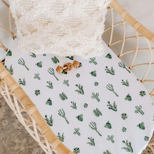 FITTED BASSINET SHEET & CHANGE PAD/SNUGGLE ME ORGANIC COVER - CACTUS