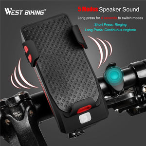 Waterproof Bicycle Bike Phone Holder Bluetooth Audio MP3 Player Speaker 4400mAh Power Bank Bicycle Ring Bell Bike Light