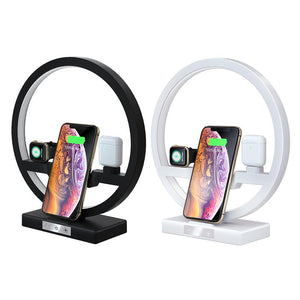 3 IN 1 QI Fast Wireless Charger Dock for iPhone 11 Pro Max for Apple Watch iWatch 1 2 3 4 5 Airpods Charger Holder LED Lamp 2019