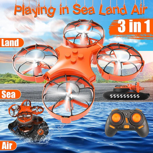 Mini Drone ,Remote Control Boats for Pools and Lakes,RC Car for Kids or Adults,3-in-1 Sea-Land-Air Mode Switchable Waterproof Auto Hovering Toy RC Quadcopter RTF