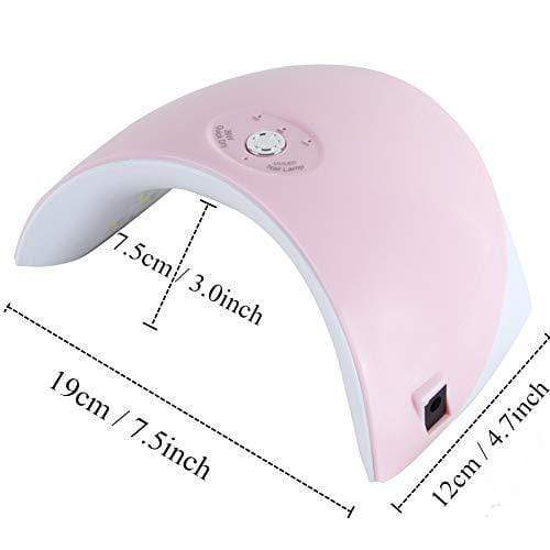 36W UV LED Lamp Nail Dryer 12 Leds Gel Polish with 60s/120s Timer USB Connector Nail Art Tools for Home and Salon(Pink)