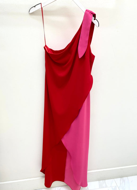 Color Block One Shoulder Maxi