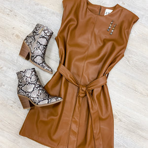 Sleeveless Leather Belted Dress