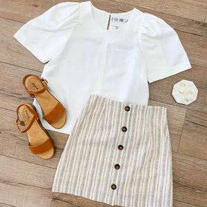 Linen Stripe Button Down Mini Skirt
