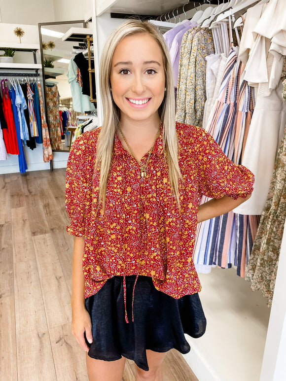 Red Floral Smocked Top