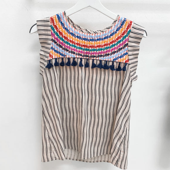 Rainbow Tassel Stripe Top
