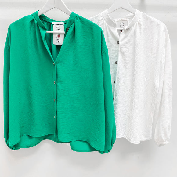 Solid Dolman Button Up Green