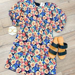 Multi Floral Puff Sleeve Dress
