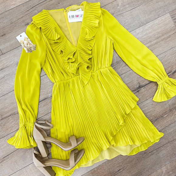 Pleated LS Mini Dress