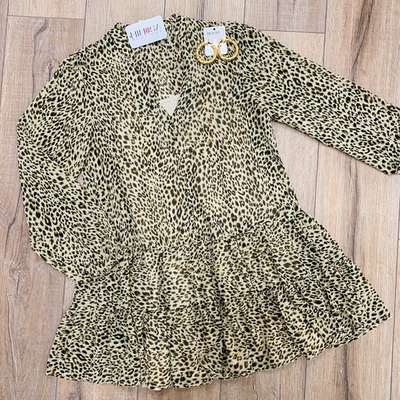 Leopard LS Ruffled Mini Dress