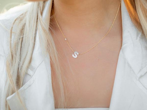 RA Pearl Letter Necklace
