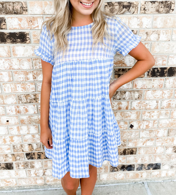 Gingham Check Tier Dress