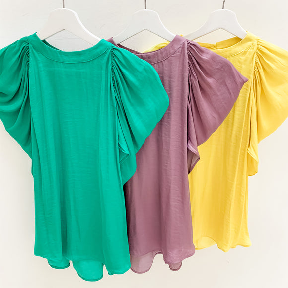 Mock Neck Drape Shoulder Blouse