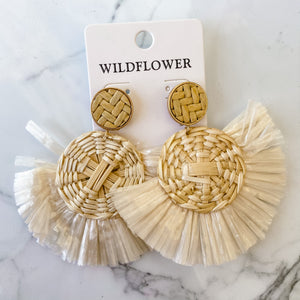 Raffia Fan & Wicker Statement Earring