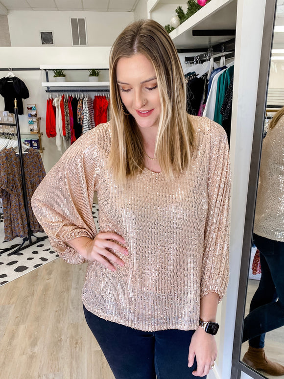Gold Sequin Balloon Sleeve Top