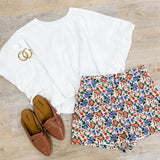 Fitted Floral High Waist Short