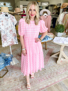 Gingham Printed Midi Dress