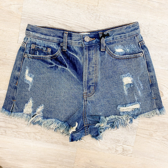 High Waist Distressed Cut Offs