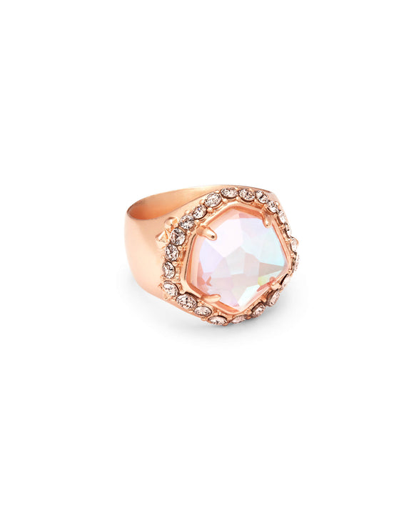 KS Schuyler Dichroic Glass Ring Rosegold