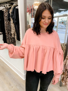 French Terry Puff Sleeve Babydoll Top