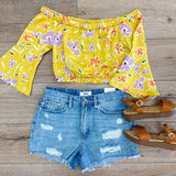 Floral Off the Shoulder Crop