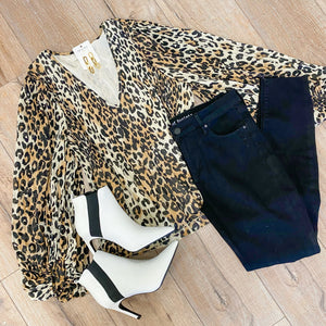 LS Accordian Pleat Leopard Blouse