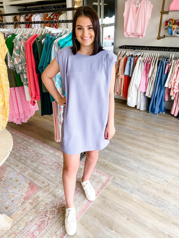 Sleeveless Padded Shoulder Tee Dress