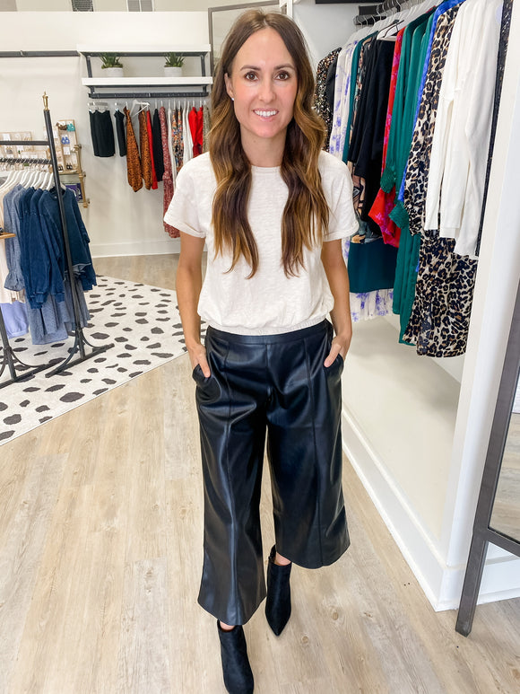 Leather Wide Leg Crop Pant