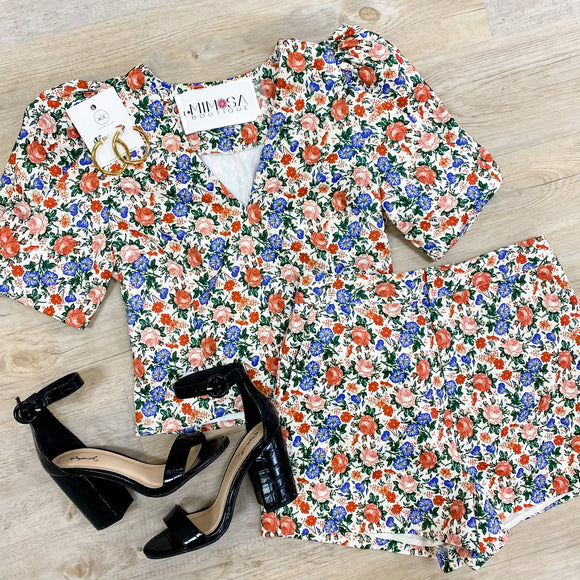 Puff Sleeve Fitted Floral Crop Top